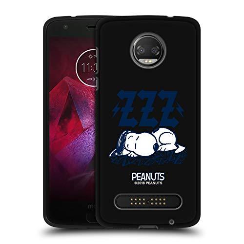 Head Hülle Designs Offizielle Peanuts Snoopy Sleepy Rock T-Shirts Schwarze Soft Gel Handyhülle Hülle Huelle kompatibel mit Motorola Moto Z2 Force