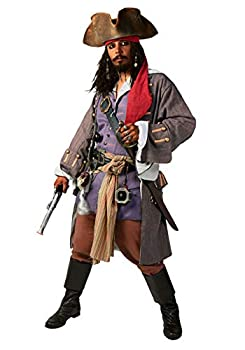 Supreme Pirates of The Caribbean Captain Jack Costume Large Red,White