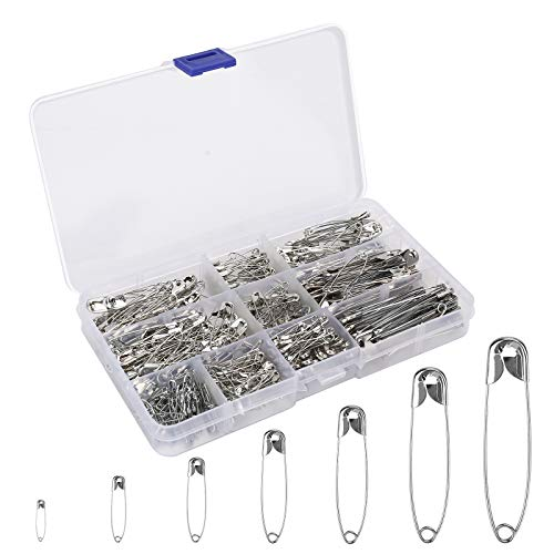 BetyBedy Safety Pins Assorted Sizes, 350PCS Safety Pins Set for Sewing Craft Cloth, Durable Safety Pins with 7 Sizes 19mm - 54mm for Home, Office Use, DIY, Art, Jewelry Making with Storage Box
