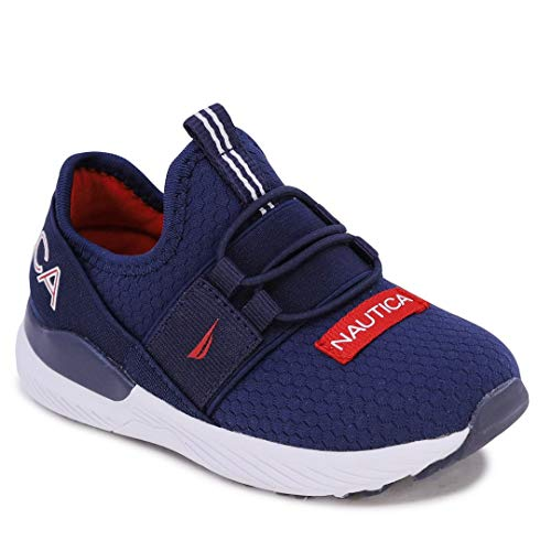 Nautica Kids Toddler Sneaker Athletic Slip-On Bungee Running Shoes Boy-Girl Toddler Little Kid-Neave Bali Toddler-Navy White Red-6