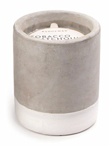 Paddywax Candles Urban Collection Soy Wax Blend Candle in Concrete Jar, Small- 3.5 Ounce, Tobacco + Patchouli