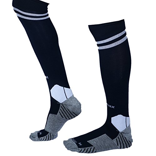 KD Willmax Sports Socks Football Stocking Dry Fast Elite (Black, Medium) Unisex Knee High Striped Sports Football/Soccer/Hockey Rugby Tube Socks for Men, Women, Boys & Girls