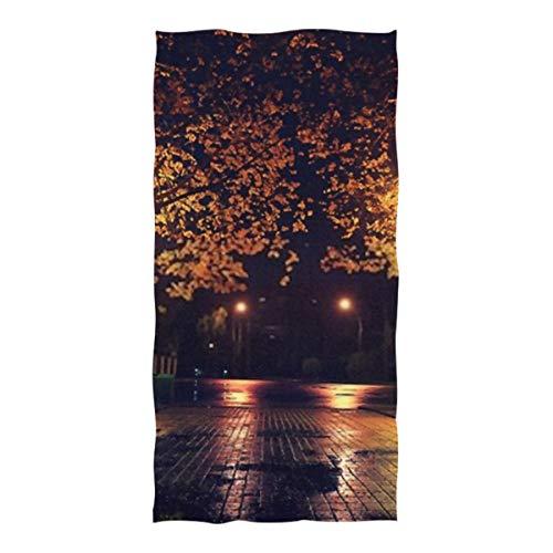 YUXB Hochwertiges Strandtuch Herbstnacht Landschaft Park Alley Trees Badetuch Große Stranddecke Hohe Saugfähigkeit Mehrzweck-Badetuch 37 X 74 Zoll