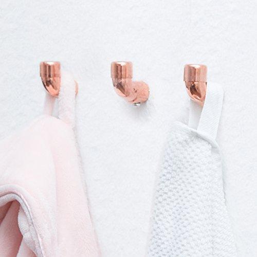 rod & knot Perchero de cobre de diseño – 3 ganchos hechos a mano