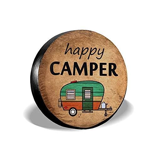 Qian Mu888 Happy Camper - Cubierta de repuesto para neumáticos, resistente al agua, UV, para remolques, RV, SUV y muchos vehículos de 40,6 cm