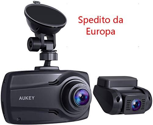 """AUKEY Double Dash Cam 1080p avec écran 2.7"""", caméra Avant et arrière Full HD, Objectif 6 Voies 170° à Angle Large, G-Sensor et Chargeur Voiture Double Port"""