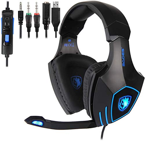 SADES SA819GT Gaming Headset for PC, MAC, PS4, Xbox ONE, Nintendo Switch, 3.5mm Surround Stereo Wired Gaming Headset, Over Ear Headphones with Mic Revolution Volume Control, Noise Canceling LED Light