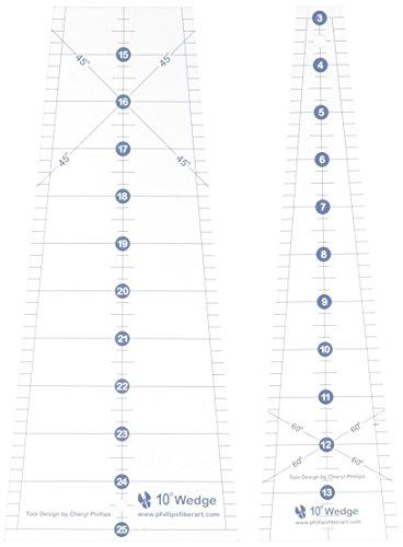Phillips Fiber Art 2TDW Two Piece Ten Degree Wedge Ruler, Medium