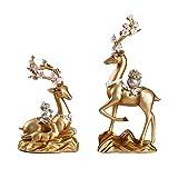 Escultura Ornamentos Creative Sala de estar Adorno de ciervos Decoración de muebles para el hogar Decoración de TV Cabinete de vino Ciervo Estatua Decoración Feng Shui Lucky Deer Crafts Decoración de