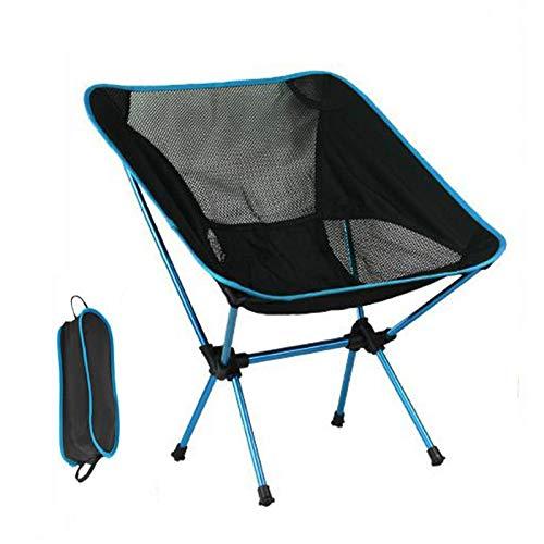 Rfgfd Silla plegable plegable portátil de aleación de aluminio plegable silla de viaje compacta ultraligera para campamento de pesca, senderismo picnic (color: azul claro)