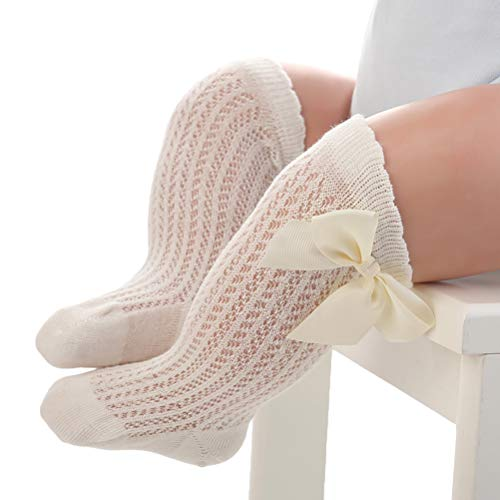 Kikier Baby Kniehohe Socken, Mädchen hohle Socken Baby Medium Strümpfe Baby lose Mund Gezeiten Socken Große Schleife Gr. Medium, beige