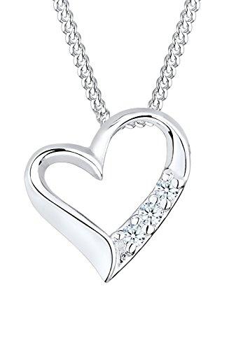 Diamore Damen Schmuck Halskette Kette mit Anhänger Herz Liebe Freundschaft Liebesbeweis Silber 925 Diamant 0,06 Karat Silber Länge 45 cm