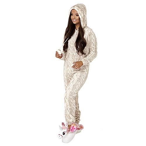 Dannii Matthews Cosy Cable Print Fleece Hooded Onesie with Fur Lining, Cream/Taupe, Medium