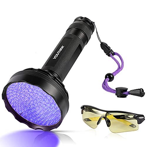 YOUTHINK Linterna UV Ultravioleta Luz Negra 128 LED 395nm Mascotas Detector de Orina en Alfombras, Cortinas, Muebles con Gafas de Protección UV