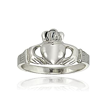 Sterling Silver Polished Claddagh Hands Holding Heart Crown Promise Ring Size 6