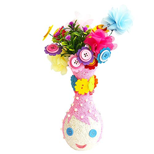 Setaria Viridis Flower DIY Craft Kit for Kids Crafts and Art Set, Fun DIY Kit Party Favors Vase and Button Flowers Crafts for Girls Boys Kid Activities Projects Children Gift (Cute Girls)