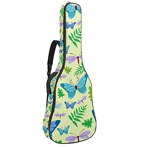 Bolsa para guitarra con diseño de mariposas, hojas de libélula, color azul,...