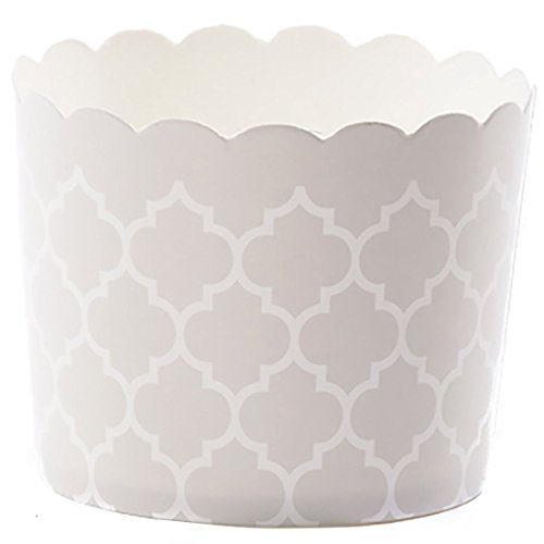 Simply Baked Large 5 Ounce Disposable Paper Baking, Party, Treat, Candy, Cupcake, Muffin and Snack Cups, 20-Pack, Pearl Quadrafoil