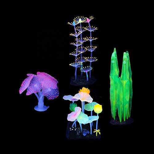 Lpraer Lot de 4 plantes d'aquarium artificielles lumineuses avec anémone de mer en silicone, corail et feuille de lotus, plantes aquatiques pour poissons, aquarium, paysage
