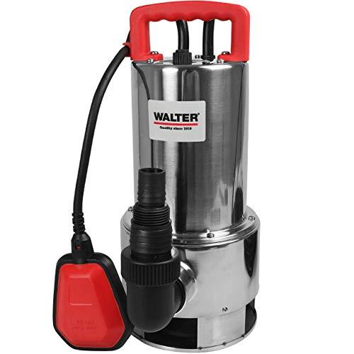 WALTER Schmutzwasserpumpe 1100 W, Tauchpumpe, Baupumpe, Fördermenge 20.000 l/h, Förderhöhe max. 8 m, Schwimmerschalter