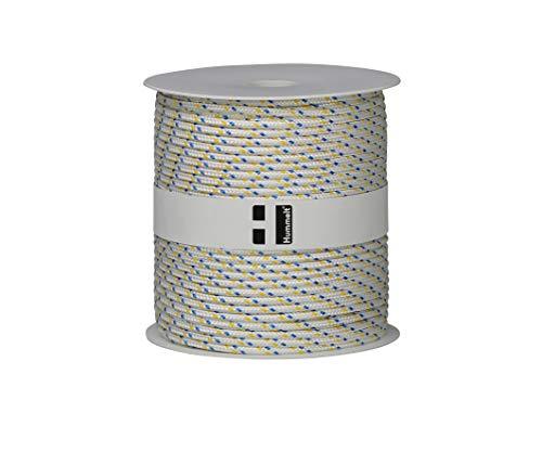 Hummelt Rope Schot Seil Polyesterseil 4mm 100m weiß/blau/gelb auf Rolle