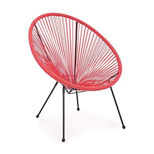 ARREDinITALY Lot de 4 fauteuils d'extérieur en métal Noir et Cordes en Fibre synthétique Rouge