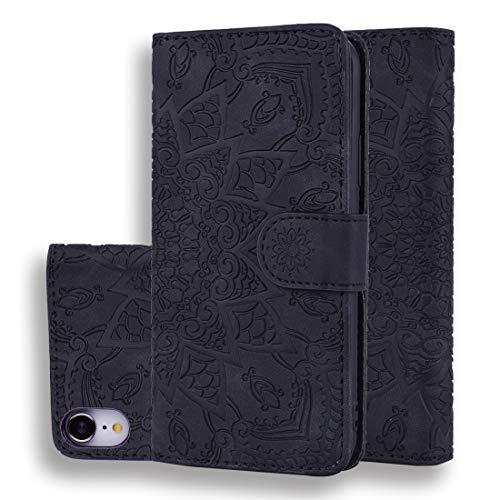 FuronGSHU beschermhoes voor mobiele telefoon & mollen TJLJO kalf model dubbelvouwbaar design beschermhoes gemaakt van leder met reliëf en standfunctie & kaartenvak voor iPhone XR (zwart), Zwart