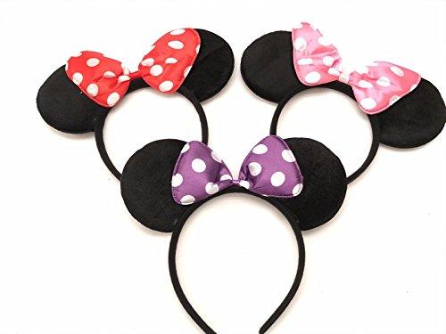 Mickey Minnie Diadema 3 piezas Mickey Minnie Mouse orejas morado rojo lunares TBow diadema para nios y nias cumpleaos fiesta celebraciones