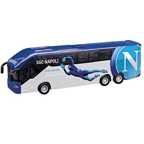 Mondo Motors - Pullman S.S.C Napoli modellino giocattolo - Bus con retrocarica frizione pull back - Colore Bianco Azzurro - 51215