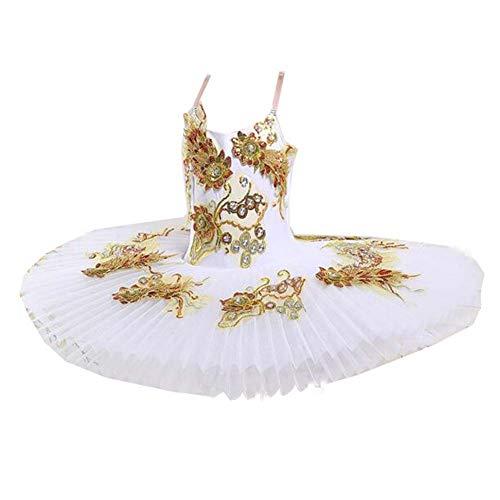 Kinder Ballett Tutu Rock Gold Pailletten White Swan Dance Kostüm Kleid Mädchen Ballett Performance Kleid