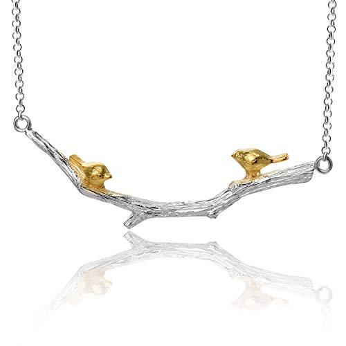 Springlight S925 Sterling Silber Halskette Kleiner Vogel am Zweig Halskette Natürlicher Handgemachter Einzigartiger Schmuck für Frauen und Mädchen (Silver-Style2)