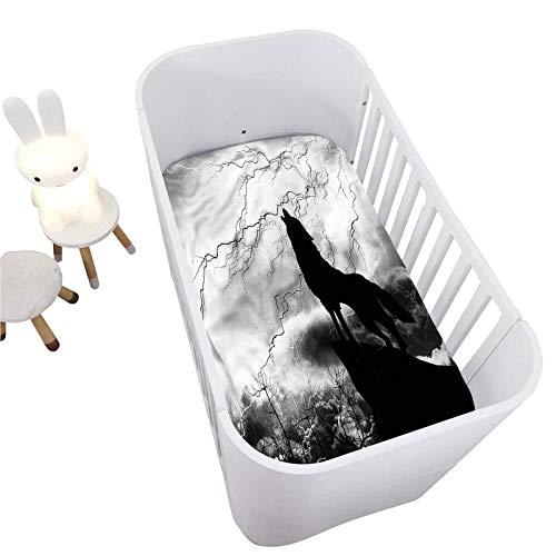 "Hiiiman Wolf Fitted Crib Sheet,Howling Under Full Moon Decorative Microfiber Crib Sheet Portable Crib Mattress Topper for Baby Boys Girls,Ultra Soft Jersey,Full Standard,28"" x 52"""