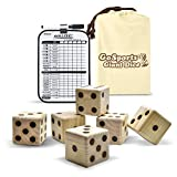 GoSports Giant 2.5' Wooden Playing Dice Set with Bonus Rollzee Scoreboard (Includes 6 Dice, Dry-Erase Scoreboard and Canvas Carrying Bag)