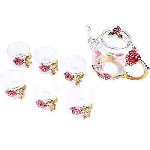 DIHAO Juego de Tazas y teteras de Vidrio con Flores Creativas Juego de Tazas de té de Vidrio para té Caliente