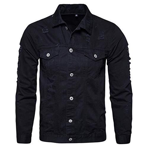 Männer Nner Herbst Langarm Demin Outwear,Moonuy Herren Bequeme Größen Winter Langarm Demin Jacke Tops Outwear Neue Style Demin Shirt Kleidung (Color : Schwarz, Size : 2XL)