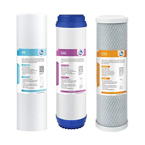 Membrane Solutions Umkehrosmose-Wasserfilter Ersatzkartuschen 25,4 cm Universal Vorfilter Set für Umkehrosmose Wasserfilter System Stufe 1-3