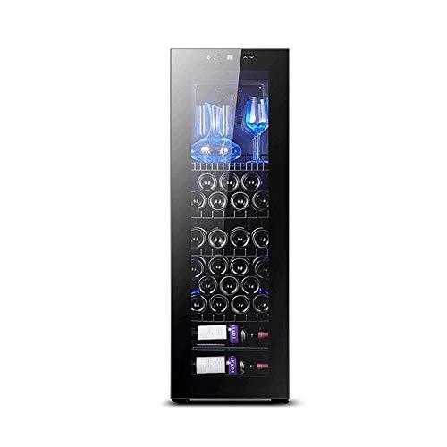 YFGQBCP Enfriador de Vino Nevera 30 Botellas de Doble Zona Bodega Built-in Independiente Enfriador de Vino con Acero Inoxidable y Memoria Digital de Temperatura Los estantes de Control/Madera