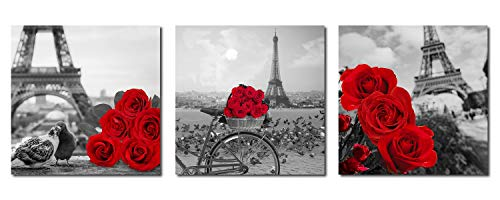 Paimuni Red Rose Floral Canvas Wall Art Black White Eiffel Tower Prints Romantic Flower Picture Framed Artwork 3 Panel Home Decor 12 x 12 Inches