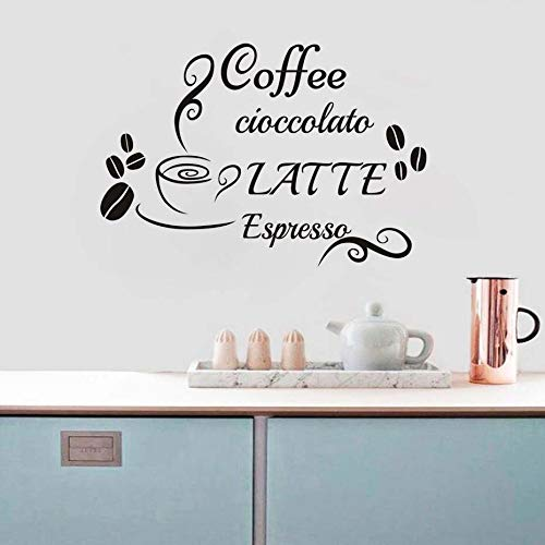Fototapete Kaffeetasse Wandtattoo Zitate Latte Vinyl wasserdicht Wandaufkleber für Küche Kaffeestation dekorative Accessoires A 59 cm x 40 cm