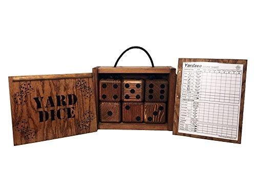 Yardzee Yard Dice Set with 8 player dry erase score sheet - 6 Giant Wood Lawn Dice - Great Backyard Game