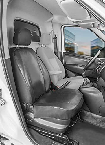 Walser 11547 Autoschonbezug Transporter Passform, Kunstleder Sitzbezug anthrazit kompatibel mit Opel Combo (X12), Einzelsitz Beifahrer