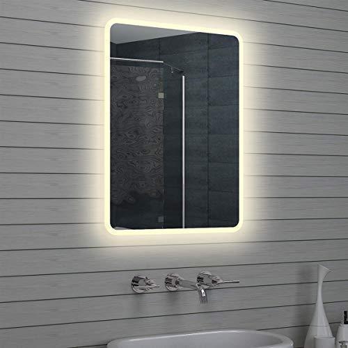 Lux-aqua Design LED Badezimmerspiegel Badspiegel Wandspiegel Lichtspiegel 80x60cm M1586, Silber