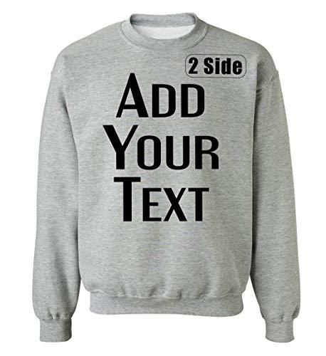 TEEAMORE Men Women Custom Crewneck Sweatshirts, Add Your Text, Team Name Number Sport Grey