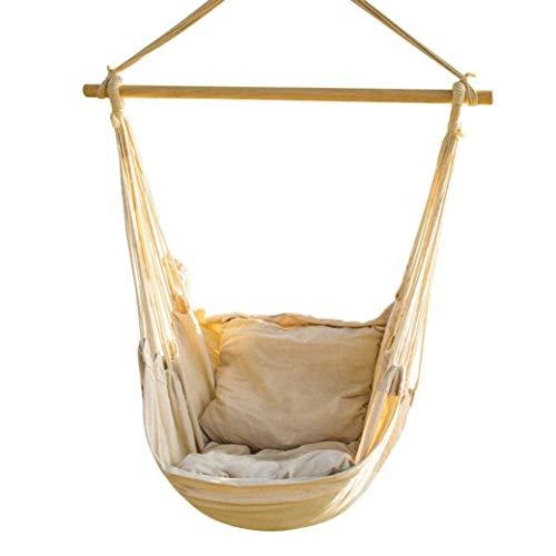 Jonas & Ely Hängesessel mit Kissen bis 150kg inkl. Montagematerial für Erwachsene & Kinder - Hängestuhl für Indoor & Outdoor (Wohn & Kinderzimmer) Gartenmöbel
