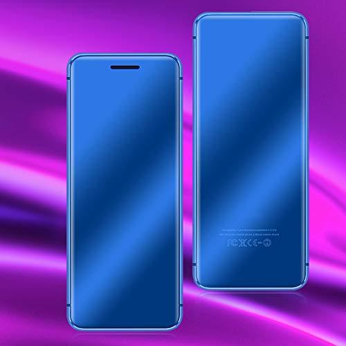 Mini teléfono, V66 + Ranura para Tarjeta Dual Teléfono Celular de Doble Modo de Espera con Doble Tarjeta con Cubierta de teléfono con Pantalla táctil y película de Pantalla(Blue)