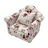 DIYARTS 1:12 Puppenhaus Miniatur Möbel Modell Tuch Blumenmuster Couch Sessel Einzelsofa Mit Kissen...