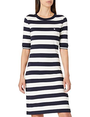 Gant D1. Bar Striped Jersey Dress Vestido, Azul Noche, M para Mujer