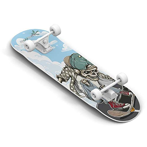 Muuwmi Abec 5 Skull Skateboard 9-lagiges Ahornholz Deck mit Sandgrip