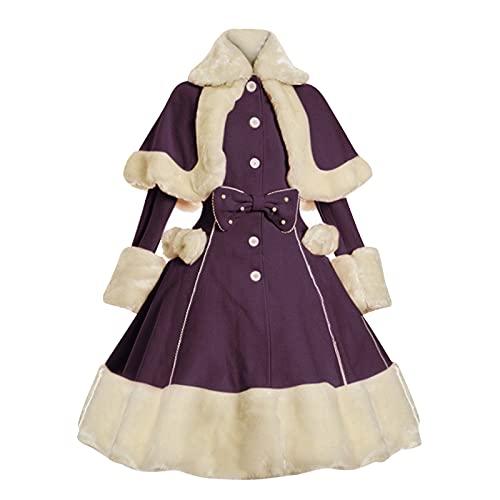 Briskorry Vestido medieval para mujer, estilo victoriano, estilo rococó, vestido de noche, festival, Fuzzy Fluffy, vestido de fiesta, baile, vestido de baile, vestido retro de princesa., morado, XL