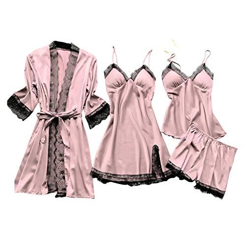 Deloito 4 Stück Dessous Set Damen Kunstseide Spitze Negligee Robe Nachtkleid Babydoll Nachtwäsche Nachthemd Pyjamas Schlafanzug Reizwäsche Vierteiliger Anzug (Rosa,Large)